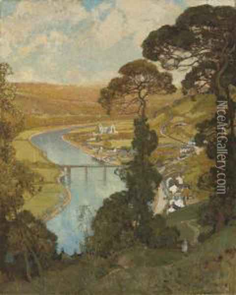 Tintern, Valley Of The Wye Oil Painting - Sir Alfred East