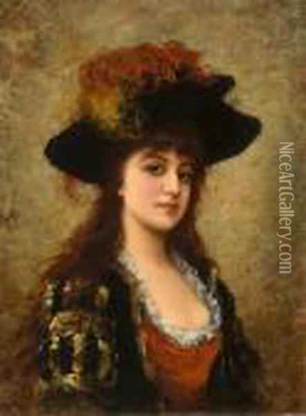 A Young Beauty With A Feathered Hat Oil Painting - Eisman Semenowsky