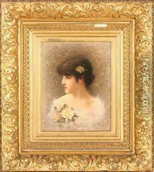 Portrait Of A Young Beauty Oil Painting - Eisman Semenowsky