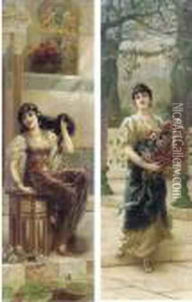 A Lady Styling Her Hair; And A Lady With Flowers Oil Painting - Eisman Semenowsky