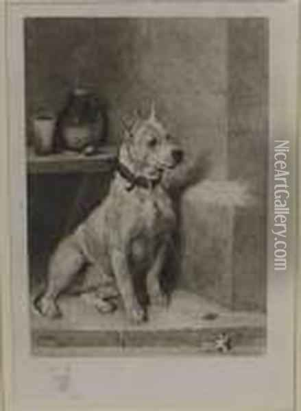 Etching Of A Terrier With A Remarque Terriers Head, Artist Proof, Blindstamp Oil Painting - John Emms