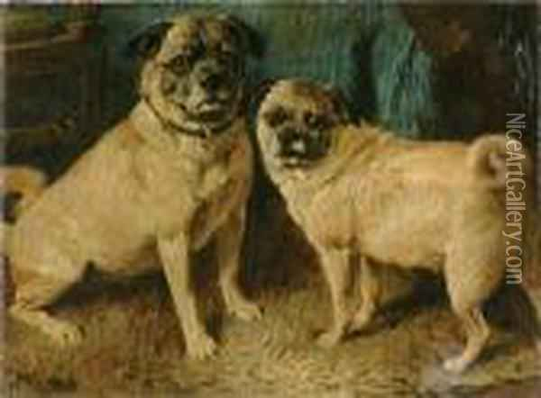 Two Pugs In An Interior Oil Painting - John Emms