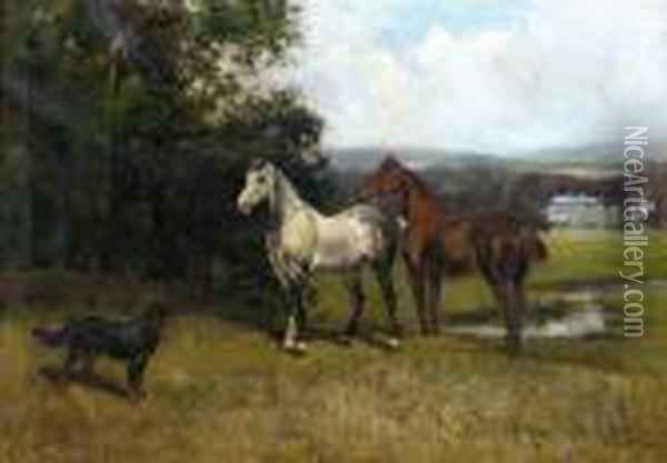 Colonel's Horses And Collie With Huntroyde Hall Beyond Oil Painting - John Emms