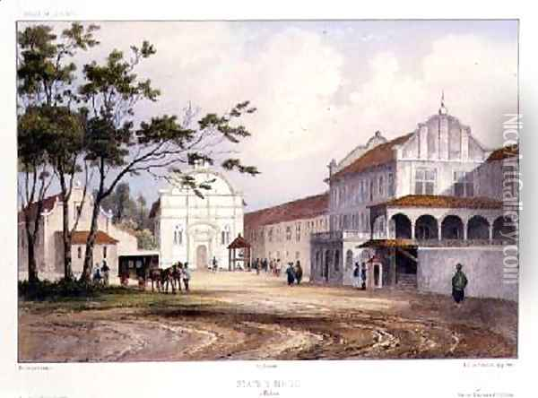 States House at Malacca Oil Painting - Lauvergne, Barthelemy