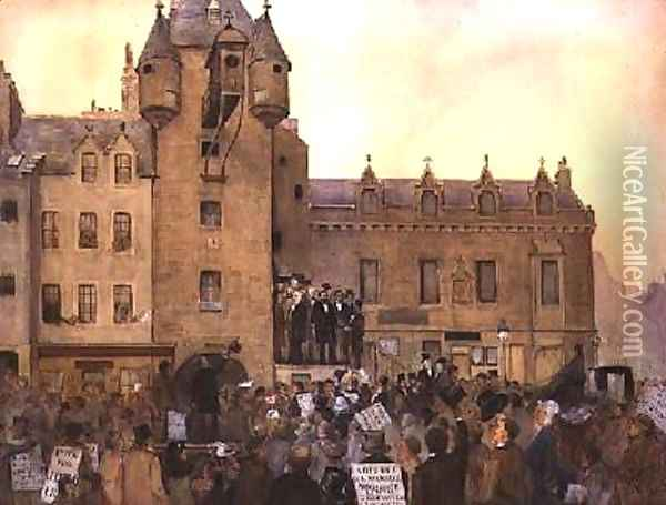 Before the Ballot Act Canongate Tolbooth Edinburgh 1884 Oil Painting - J. Little