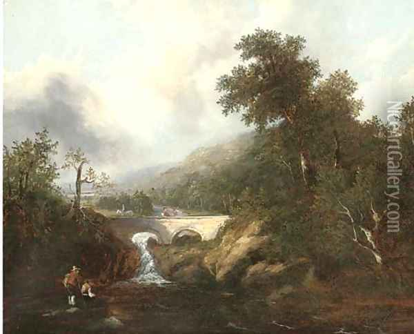 Anglers before a waterfall and bridge Oil Painting - Richard Hume Lancaster