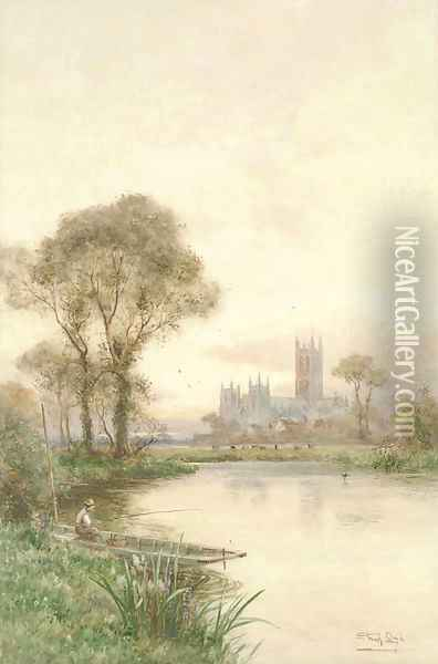 An angler fishing on the Stour before Canterbury Cathedral Oil Painting - Walker Stuart Lloyd