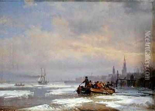 Ship in Ice 1854 Oil Painting - Egidius Linnig