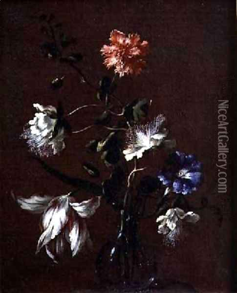 Still life of Caper Flowers Carnations Bindweed and Tulips Oil Painting - Gasparo Lopez