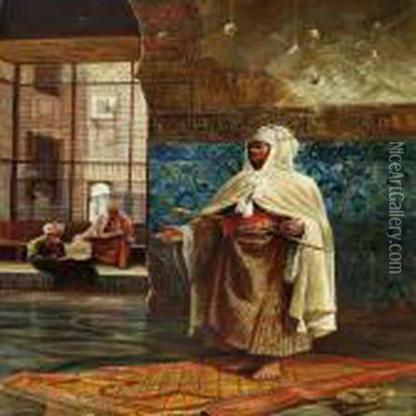An Arab Praying In The Mosque Oil Painting - Rudolph Ernst