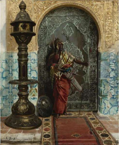 Nubian Guard Oil Painting - Rudolph Ernst
