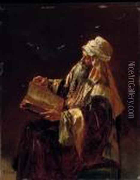 The Scholar Oil Painting - Rudolph Ernst