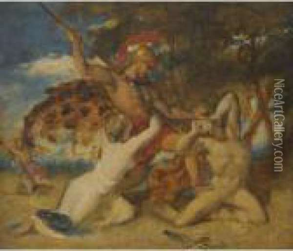 The Combat Oil Painting - William Etty