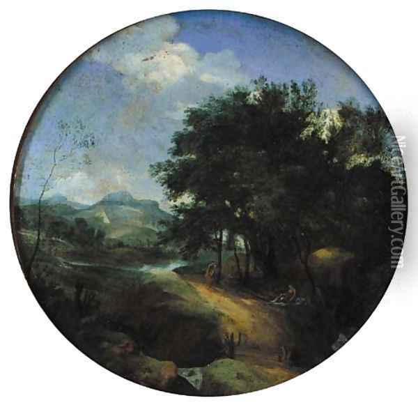 Classical figures in a pastoral landscape with some buildings beyond Oil Painting - Claude Lorrain (Gellee)