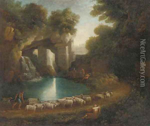 A wooded clearing with a shepherd and his flock and anglers by a waterfall beneath classical ruins Oil Painting - Claude Lorrain (Gellee)