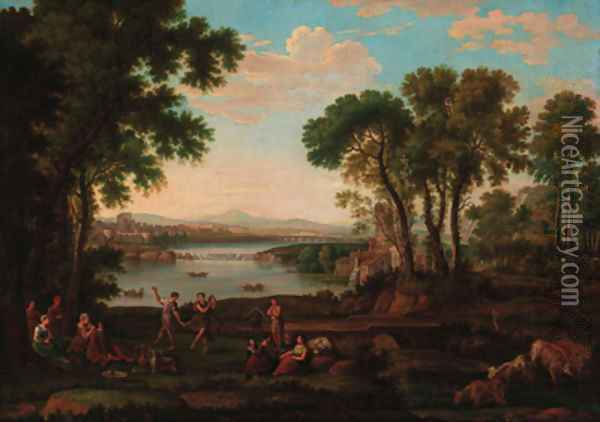 Figures dancing in a classical landscape Oil Painting - Claude Lorrain (Gellee)