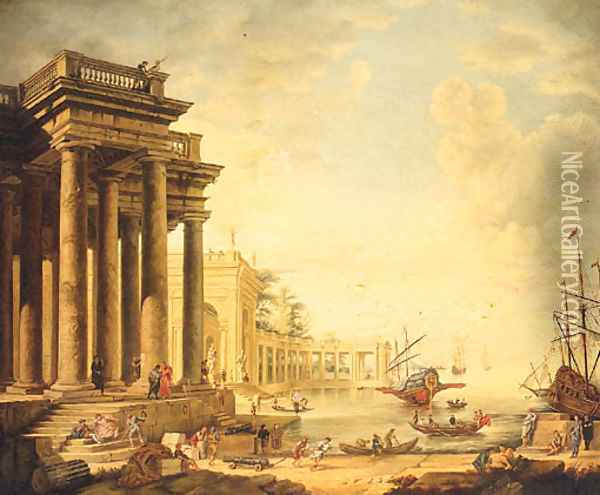A Neoclassical Capriccio Of Figures On A Quay By A Loggia Oil Painting - Claude Lorrain (Gellee)