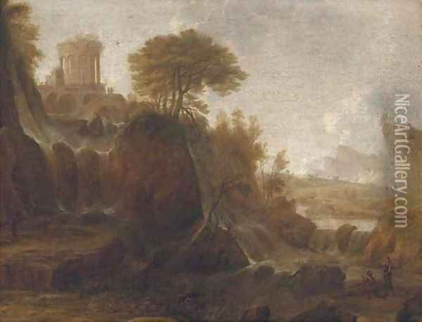 Figures by a waterfall in a classical landscape Oil Painting - Claude Lorrain (Gellee)