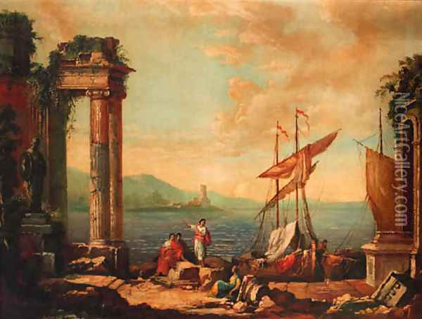 Figures resting by a ruined temple on a quay Oil Painting - Claude Lorrain (Gellee)
