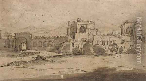 Porta San Giovanni and Porta Asinara in the Aurelian walls of Rome Oil Painting - Claude Lorrain (Gellee)