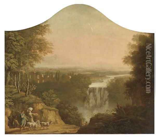 An extensive river landscape with a shepherd and his flock by a waterfall Oil Painting - Claude Lorrain (Gellee)