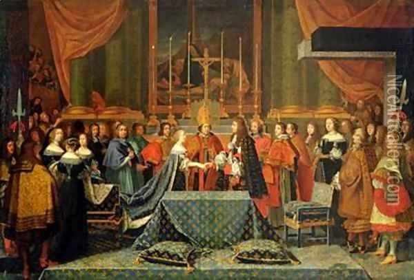 Celebration of the Marriage of Louis XIV 1638-1715 and Maria Theresa 1638-83 of Austria Oil Painting - Laumosnier