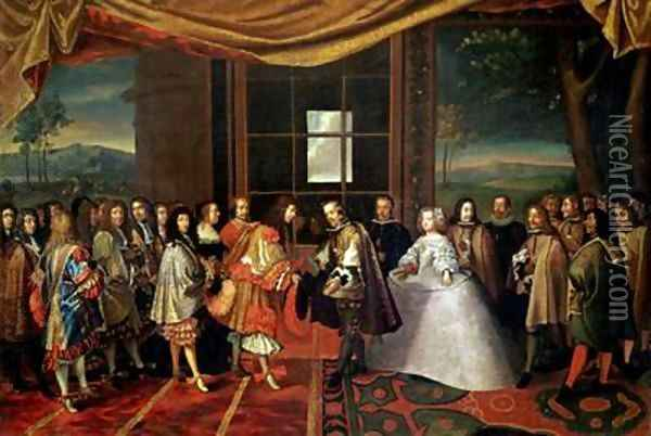 Meeting between Louis XIV 1638-1715 and Philippe IV 1605-65 at Isle des Faisans Oil Painting - Laumosnier