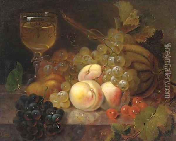 Peaches, a melon, cherries, a pear, grapes and a glass of wine on a marble ledge Oil Painting - Edward Ladell