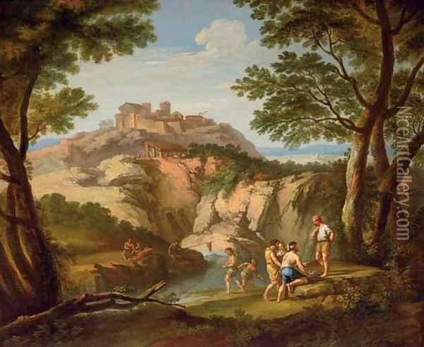 An Italianate river landscape with fishermen in the foreground and a hill town beyond Oil Painting - Andrea Locatelli