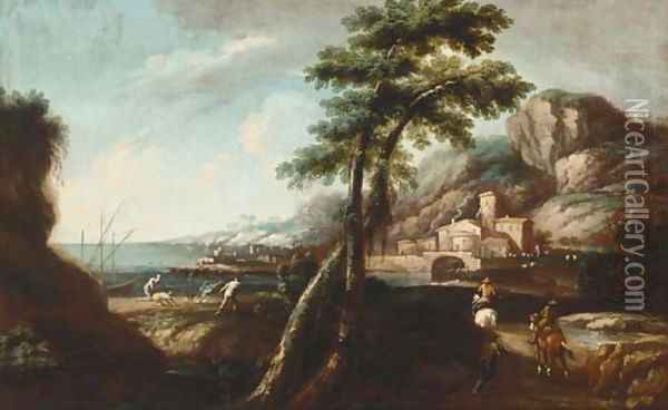 An Italianate landscape with travellers on a track, a port beyond Oil Painting - Andrea Locatelli