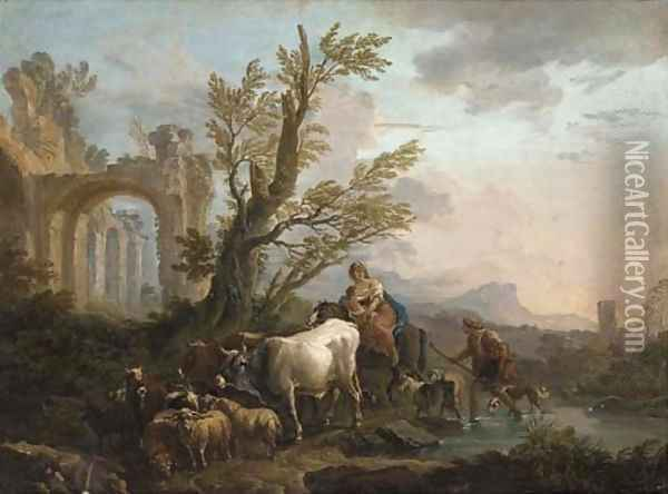 An Italianate river landscape with a peasant family travelling with his goats and cattle Oil Painting - Andrea Locatelli