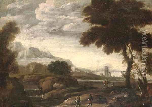 An extensive river landscape with travellers on a path Oil Painting - Andrea Locatelli