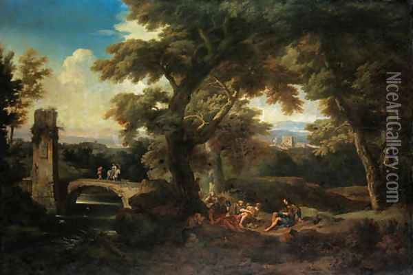 An Italianate wooded river landscape with pilgrims resting, a ruined tower and a bridge beyond Oil Painting - Andrea Locatelli
