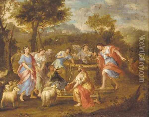 Rebecca and Eliezer at the well Oil Painting - Gerard de Lairesse