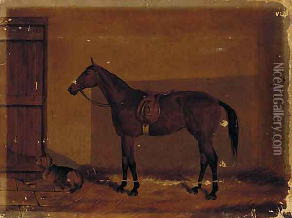 A saddled chestnut hunter with a dog in a stable Oil Painting - Henry Frederick Lucas-Lucas