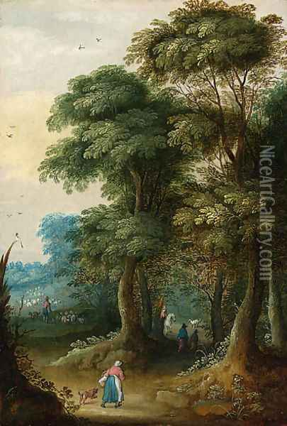 A wooded landscape with a traveller on a horse; and Peasants in a wooded landscape Oil Painting - Jasper van der Laanen