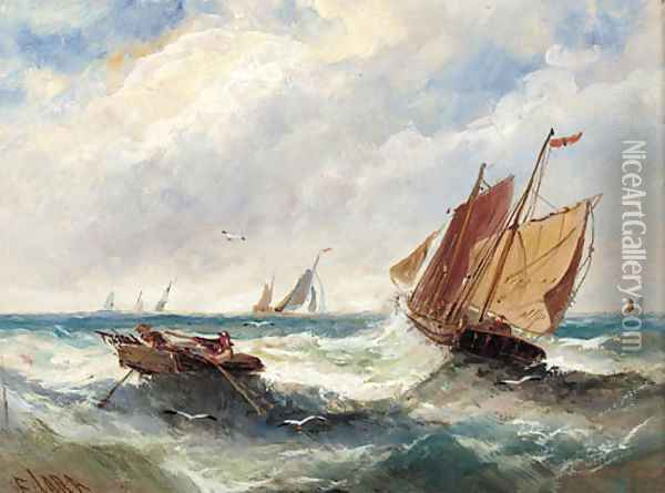 Boats in a swell; and Boats outside the harbour walls Oil Painting - Edwina Lara