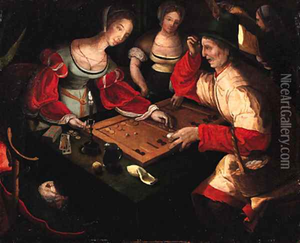 Figures playing backgammon in an interior Oil Painting - Lucas Van Leyden