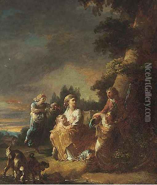 A park with a family at rest beneath a tree Oil Painting - Francisco De Goya y Lucientes