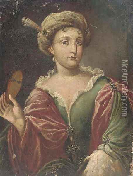 Portrait of a lady, half-length, dressed for Carnival Oil Painting - Alessandro Longhi