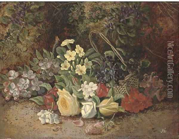 Summer flowers in a wicker basket, on a mossy bank Oil Painting - Henry J. Livens