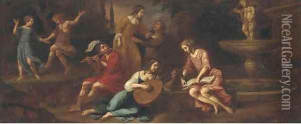 Elegant company making music in a classical landscape Oil Painting - Jacob van Loo