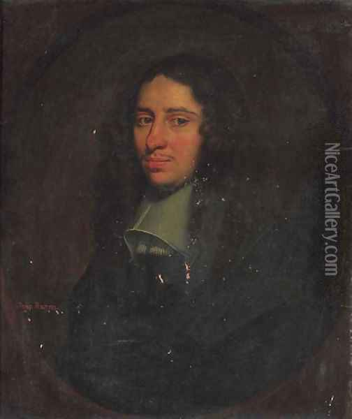 Portrait of a gentleman, traditionally identified as John Bacon Oil Painting - Simon Luttichuys