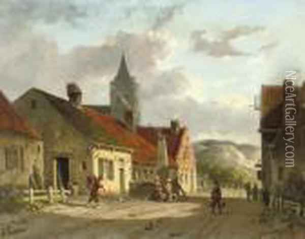 Daily Activities In A Sunlit Dutch Town Oil Painting - Adrianus Eversen
