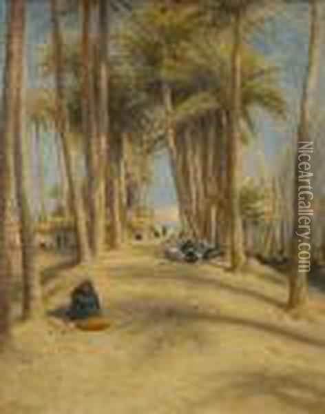 On The Banks Of The Nile Opposite Cairo Oil Painting - Joseph Farquharson