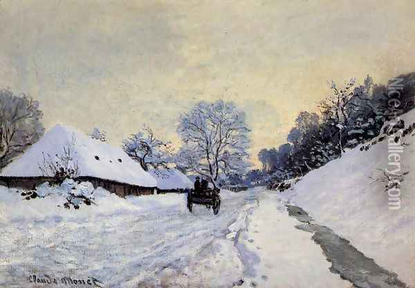 A Cart On The Snow Covered Road With Saint Simeon Farm Oil Painting - Claude Oscar Monet