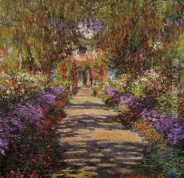 Pathway In Monets Garden At Giverny Oil Painting - Claude Oscar Monet