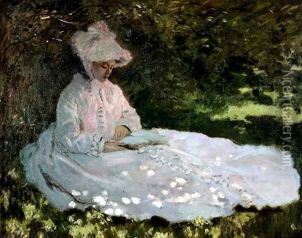 A Woman Reading Oil Painting - Claude Oscar Monet