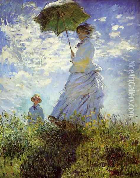 The Walk Woman With A Parasol Oil Painting - Claude Oscar Monet