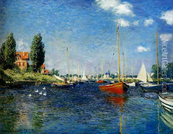 Argenteuil (Red Boats) Oil Painting - Claude Oscar Monet